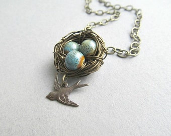 Antiqued Bird Nests necklace with Mom