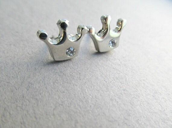 silver rhinestone crown stud earrings