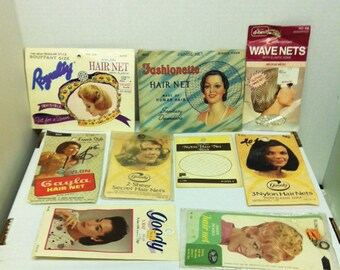 9 Vintage Hair Nets Unused in Original Packages Goody, Gayla, Fashionette and More