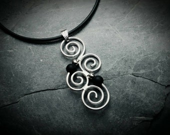 Meaningful Necklace with New Zealand Koru BLACK and Silver Maori Symbol Spiral Pendant Wire wrapped Wirework Swirl Ornament handmade gift