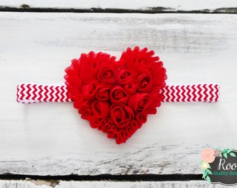 Red Heart of Roses Infant Toddler Girl Chevron Headband - Christmas Holiday - July 4th - Fourth of July - Valentine's Day - Special Occasion