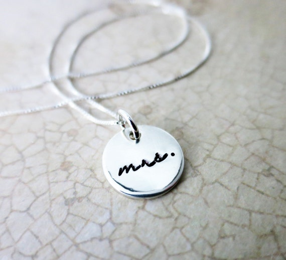 Mrs. Necklace | Mrs. Jewelry | Gift for Bride | Bridal Shower Gift | Hand Stamped Mrs. Necklace | Sterling Silver Disc Necklace | Delicate