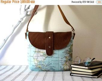 WINTER SALE World Map Bag, Leather Canvas Messenger Bag, Girlfriend Gift, Women Shoulder Bag, Handbag, Wife Gift, Travel Bag, Travel Gift