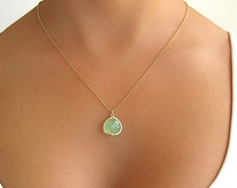 Pale Green Glass Pendant Necklace