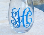 Monogrammed Stemless Wine Glass, Personalized Stemless Wine Glass, Wine Glass