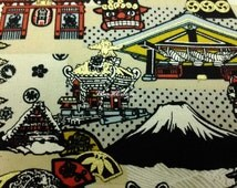 Japanese temple and fortune cat, beige, gold metallic, 1/2 yard, pure cotton fabric