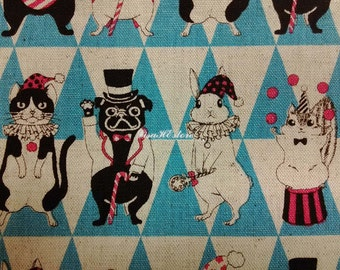 Animals' masquerade, blue, 1/2 yard, cotton linen blended fabric