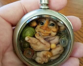 Pocket watch knome , goblin , ooak
