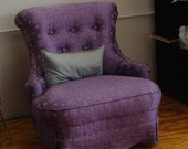 Vintage Easy Chair 1950s Purple Fabric