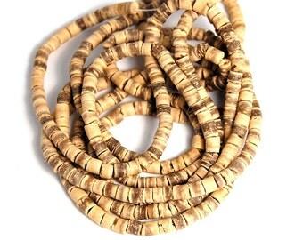 Tan Coconut Shell Heishi 3mm -22 inch strand