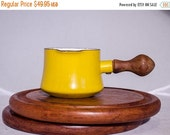 ON SALE Small Bright Yellow Dansk Butter warmer / pan, small soup warmer pot, vintage cookware