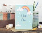 New Baby Card, Cute, Clouds, Hello Little One- Free Postage