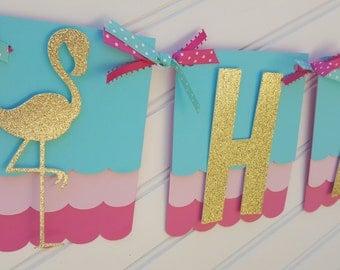 Flamingo Birthday banner, Pineapple banner.  Pink, aqua, gold.  Beach theme banner