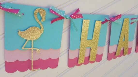 Flamingo Birthday banner Pineapple banner. Aloha Banner.