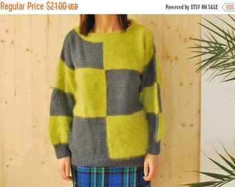 SALE Green Angora Knitted Sweater VINTAGE 80's checked sweater