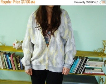 SALE Vintage 1980s  yellow grey cardigan Knitted Sweater With Buttons