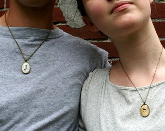 Unisex jewelry. Personalized gift for two. Custom necklaces. Girlfriend, boyfriend jewelry. Custom anniversary gift. Two pendant necklaces.