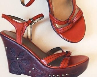 Vintage Russet Orange Platform Wedge Sandals • Size 8.5 / Embossed Studded Heels / 1990s Does 1970s