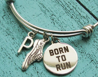 running gift, marathon bracelet, fitness jewelry, running jewelry, personalized gift for runner, born to run bracelet weight loss motivation
