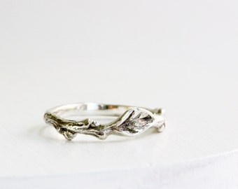 Leaf Ring,Silver Twig Ring, Branch Ring, Nature Ring