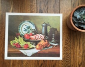 Vintage Wilf Walker Still Life Painting Lithograph