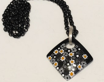 Murano Millefiore Glass Daisy Pendant Necklace Gifts for Her