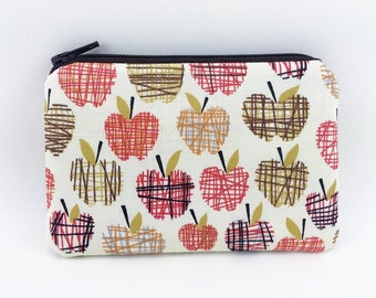 Little Coin Purse, Small Zipper Pouch, Card Wallet, Gift idea, Padded Pouch, Change Purse - Apples