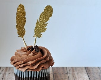 Gold Feather Cupcake Toppers, Cake Decoration, Glitter Feather Decoration, Party Decor, Food Picks, Wedding Decoration, Birthday Party Decor