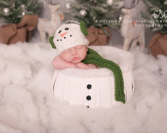 Christmas, hat, newborn, snowman, photography, coming home outfit, photography prop, baby, knit, boy, girl, baby shower gift, newborn outfit