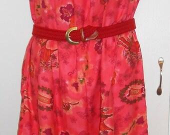 On Sale Royal Hawaiian, Mumu, Hawaiian print, Dress, 1970s, Cotton, Bust 39, Hawaiian Print Dress, Graphic Print, Novelty Print, Red Print,