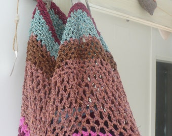 Shopping bag upcycled from vintage Spanish tapestry & Rowan yarn and metallic leather