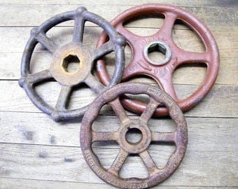 Rusty Old Cast Iron Industrial Factory Salvage Valve Wheels