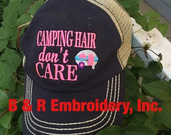 CAMPING Hair don't Care Monogrammed Personalized Hat