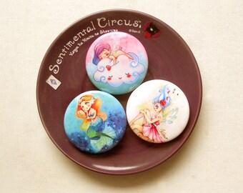 Girls Pinback Buttons, Kawaii Anime Pins, Enamel Pin, Mermaid Pins, Angel Pins, Fairy Pin, Chibi Badges, Anime Buttons, Gift for Teen Girls