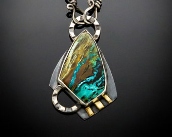 Twilight - Chrysocolla & 18K Gold Sterling Silver Necklace