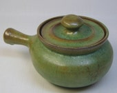 vintage north carolina hand thrown pottery individual casserole with lid O + M Pottery House Cary NC