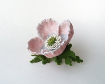 Felt brooch pale pink poppy flower, nuno felt flower from wool and silk, nunofelt flower, OOAK, ready to ship