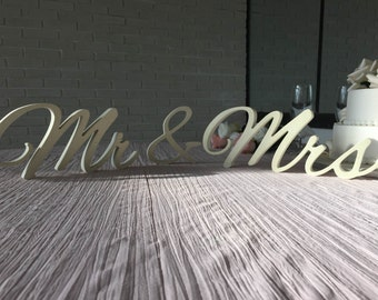 Wedding signs Ivory Gold Glitter Mrs and Mr for weddings