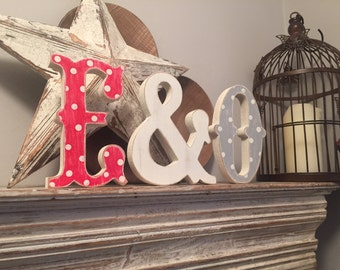 Freestanding Wooden Wedding Letters, Set of 3 - 15cm - Western Style Font, Carnival