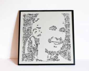 "Jane Goodall - Doodle portrait with her story and chimp in details - women in science Wall Art - Ltd edition of 100 - 8"" x 8"" or 12"" x 12 """