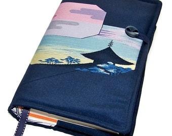 Large Bible Cover, Custom sizes made, Kyoto Temple Sunset, Vintage Silk Kimono, UK Seller