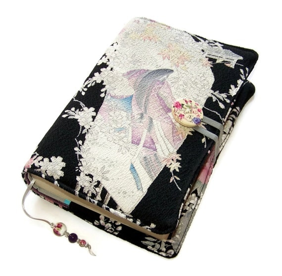 Book Cover Handmade Quilts : Fabric book cover handmade bible kimono silk japanese
