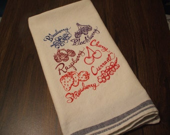 Fruit Embroidered Kitchen Towel