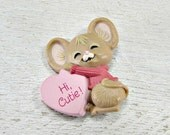 Vintage HALLMARK Valentines Day Brooch Pin, Mouse with Converstation Heart Brooch, 1980s Valentines Day Jewelry, Valentines Day Gift for Her