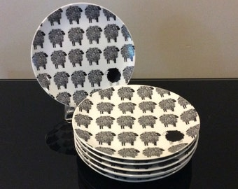 Fitz and Floyd Black Sheep Variations Plates (set of 7)