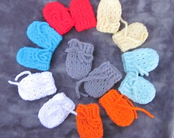 Baby infant mittens, boy or girl, thumbless, 0-6 months ,ready to ship or custom order