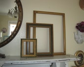 Set of 3 Empty Vintage Gilded Wood Frames - Stepped Display Frames - Photo Booth Props