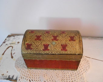 Vintage Florentine Neoclassical Aged Crimson and Gilt Treasure Box