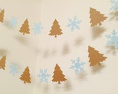 Snowflake Garland - Onederland banner - Winter trees and snowflake garland - Country Christmas Decoration- Christmas Decor-your color choice