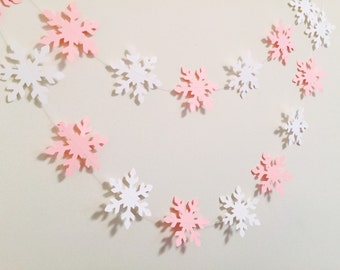 Winter ONEderland decor - pink and white snowflake Garland - baby shower decor - 6ft snowflake banner - Bridal Shower decor - your colors